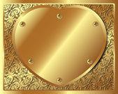 Background with golden metallic heart — Stock Vector
