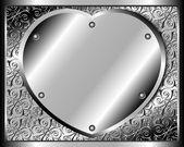 Metal heart on rivets — Stock Vector