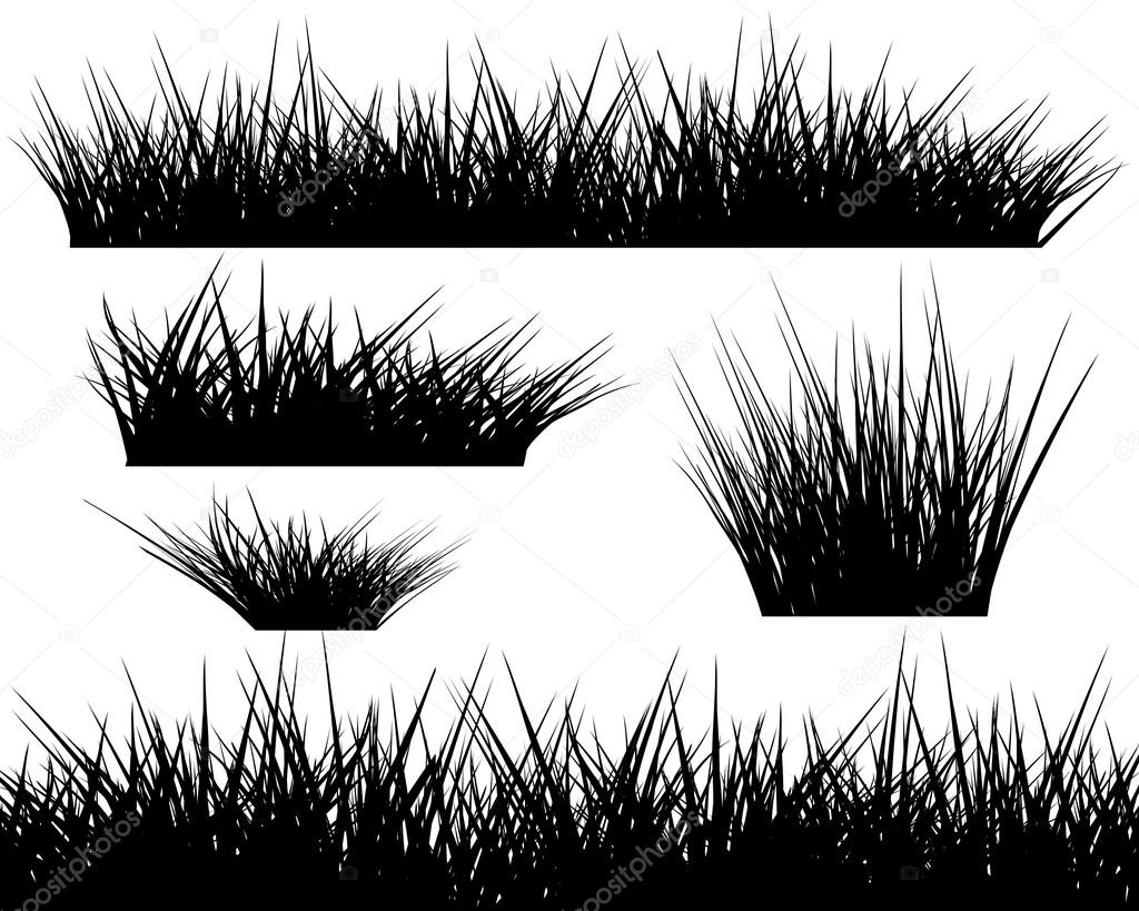Grass Outline Vector Silhouette of grass on white