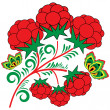 Design element with a branch of raspberries — 图库矢量图片