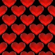 Seamless pattern of red glass hearts — Stock Vector
