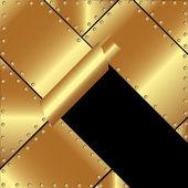 Metallic gold background with a broken metal 2 — Stock Vector