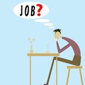 Een man op zoek naar werk — Stockvector
