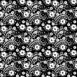 Seamless monochrome floral pattern 6 — Vector de stock #24411393