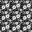Seamless monochrome pattern with wild rose - Vektorgrafik