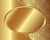Guld ram med mönster 2 — Stockvektor