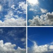 Photo: Set of backgrounds with blue sky and clouds