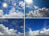Jeu de fond de ciel bleu et nuages — Photo