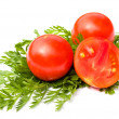 Ripe tomatoes on white background — Stockfoto