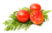 Ripe tomatoes on white background — Stock Photo