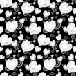 Seamless monochrome pattern with hearts — Stock Vector