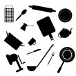 Silhouettes of kitchen accessories — Stock Vector