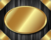 Koyu ahşap arka plan 2 altın plaka — Stok Vektör