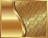 Marco dorado con el patrón — Vector de stock