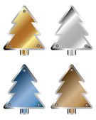 Set of metal Christmas trees — Stock Vector