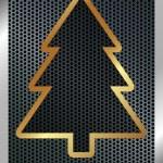 Christmas background with a metallic Christmas tree — Stock Vector