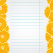 Exercise book paper with orange slices on edges — стоковый вектор #37730685