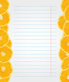 Exercise book paper with orange slices on the edges — Stock Vector