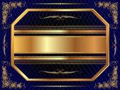Guld ram med mönster 7 — Stockvektor