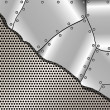 Metallic background with grid and steel plates — Vector de stock #39422659