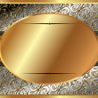 Delicate gold frame with oval plate — Stock Vector #40004897