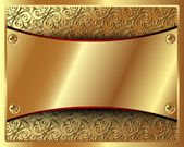 Delicate gold frame with pattern and in the center of the plate — Stockvector