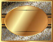 Delicate gold frame with oval plate — Vector de stock