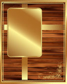 Metallic gold frame on a wooden background 3 — Stock Vector