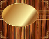 Metallic gold frame on a wooden background 5 — Stockvektor