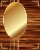 Metallic gold frame on a wooden background 6 — Stock Vector