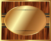 Metallic gold frame on a wooden background — Stock Vector