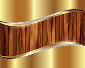 Metallische Goldrahmen auf einem hölzernen Hintergrund — Stockvektor