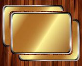 Metallische goldrahmen auf einem hölzernen hintergrund 2 — Stockvektor