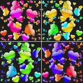 Ensemble de milieux sans faille avec les coeurs colorés et de papillons — Vecteur