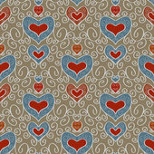 Abstract holiday seamless pattern with hearts 2 — Stockvektor
