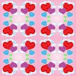 Seamless pattern with hearts and clouds — Stock Vector #8658764