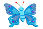 Blue textile butterfly — Stock Photo