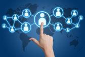 Pressionando o ícone de mídia social — Foto Stock