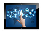 Tablet social media icon — Stock Photo