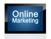 Tablet Online Marketing — Stock Photo