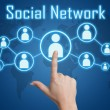 Pressing social network icon — Stock Photo