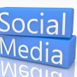 Blue Box Social Media — Stock Photo