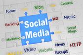 Puzzle Social Media — Stock Photo