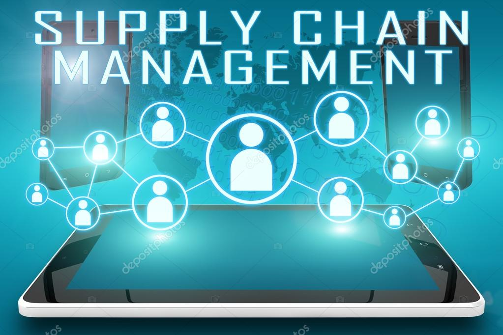Supply Chain Management Icon Supply Chain Management Text Illustration With Social Icons And Tablet