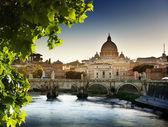 Ver en la basílica tiber y san pedro — Foto de Stock