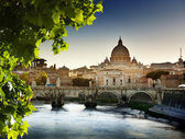 View on Tiber and St Peter Basilica — 图库照片
