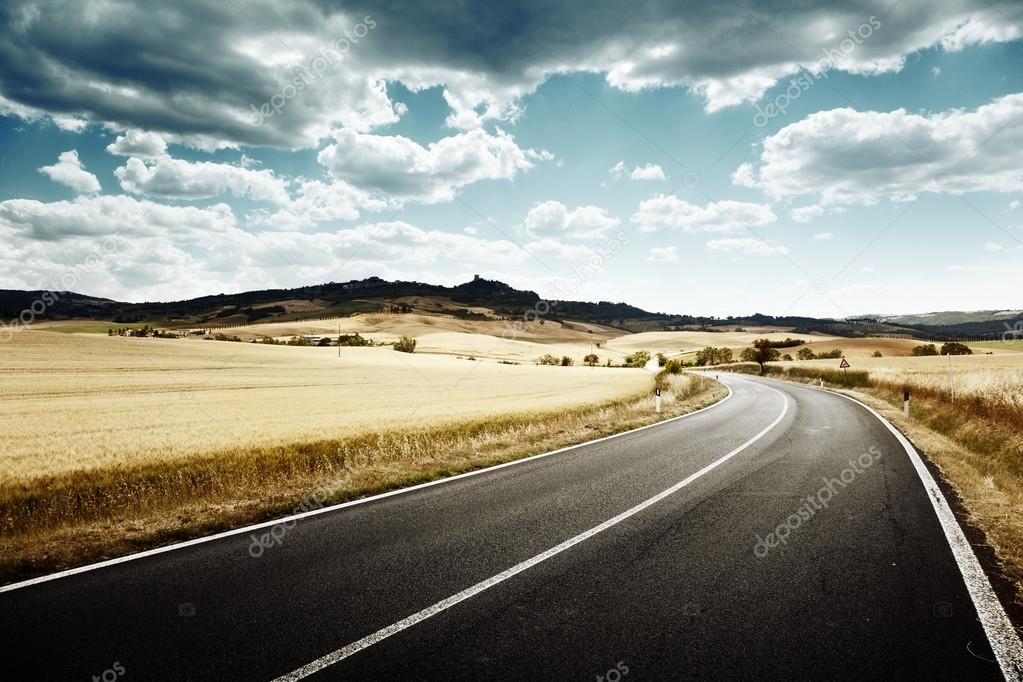 Asphalt road in Tuscany Italy — Stock Photo #12698658