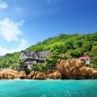 Hotel on tropical beach, La Digue, Seychelles - Stock Photo