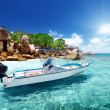 Stock Photo: Speed boat on beach of Coco Island, Seychelles