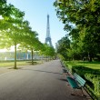 Sunny morning and Eiffel Tower, Paris, France  — Stock Photo